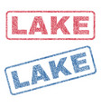 lake textile stamps vector image vector image