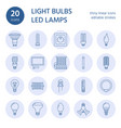 light bulbs flat line icons led lamps types vector image vector image