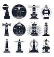 lighthouses logo nautical vintage label sea vector image vector image