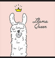 llama queen drawing animal cute cartoon alpaca vector image vector image