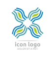 Logo Icon Leaf Wave Square Design Symbol Abstract vector image