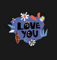 love you flat hand drawn lettering vector image vector image