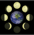 moon phases and planet earth vector image