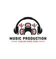 music logo and headset vector image vector image