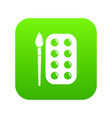 paint brush palette icon green vector image