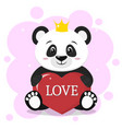 panda in the crown sits and holds in the paws a vector image vector image