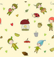 pattern with cute cartoon gnomes funny elves vector image vector image