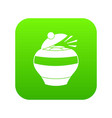 pot full of gold coins icon digital green vector image