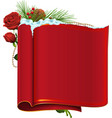 Red blank paper scroll fir branch berry and rose vector image vector image