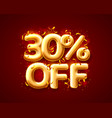 sale 30 off ballon number on red background vector image vector image