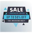 sale fantastic offer up to 50 off ribbon blue bac vector image vector image