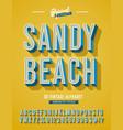 sandy beach vintage 3d stylish alphabet