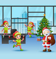 santa claus with some elves celebration a christma vector image