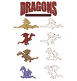 set color and line art dragons for sticker vector image vector image