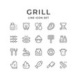 set line icons of grill vector image