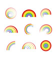 set of monochrome icons with different rainbows vector image vector image