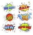 set pop art comic sale discount promotion vector image