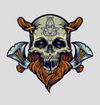 skull viking warrior with axe vector image vector image