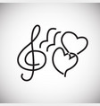sound of lovers heart thin line on white vector image