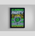 st patricks day party poster design template vector image vector image