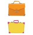 Suitcase and leather briefcase vector image