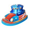 Two blue monsters riding a car vector image vector image
