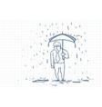 upset business man wet under rain with umbrella vector image