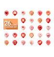 valentine day set pin map icons vector image vector image
