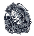 vintage monochrome chicano tattoo concept vector image vector image