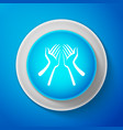 white hands icon isolated on blue background vector image