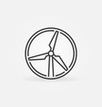 wind turbine round thin line concept icon vector image vector image
