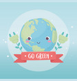 world plug plants environment ecology cartoon vector image