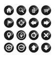 Navigation menu icon set glossy black vector image