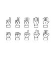 hand with counting fingers line symbols vector image