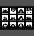 black monster head big set cute cartoon scary vector image