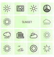 14 sunset icons vector image vector image