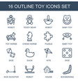16 toy icons vector image vector image