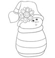 a coloring bookpage a cute snowman wearing a cap vector image