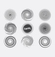 abstract swirl set dynamic flow black white icon vector image vector image