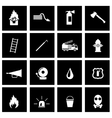 black firefighter icon set vector image vector image