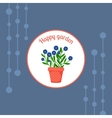 Blue flowers in a pot badge vector image