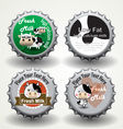 Bottle caps of fresh milk vector image