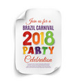 brazil carnival 2018 party poster on white vector image