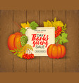 brown wood laths with foliage and pumpkin for the vector image vector image