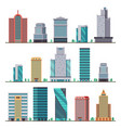 Buildings and modern city houses flat icons