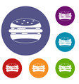 burger icons set vector image vector image