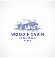 cabin in the woods abstract sign symbol vector image vector image
