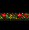christmas and new year seamless border with fir vector image vector image