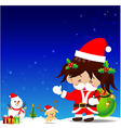Christmas cartoon Little Girl with Santa Suit vector image