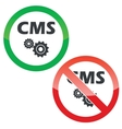 CMS settings permission signs set vector image vector image
